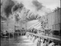 Пожар на складах Бруклинского пирса. Нью-Йорк, США. Начало 20 века