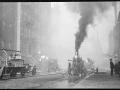Использование парового пожарного насоса. Подключение к гидранту. Нью-Йорк, США. Начало 20 века