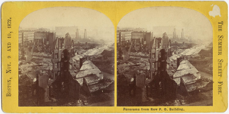 Великий пожар Бостона. 1872 год, США. Панорама руин