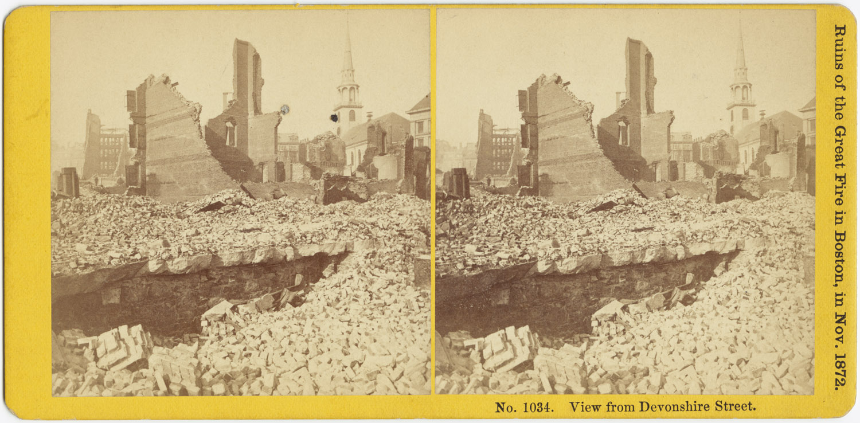 Великий пожар Бостона. 1872 год, США. Вид от Девоншир Стрит