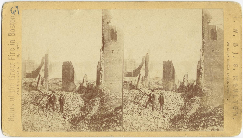 Великий пожар Бостона. 1872 год, США. Руины Саммер Стрит