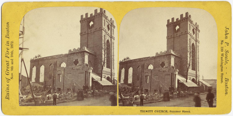Великий пожар Бостона. 1872 год, США. Тринити Черч на Саммер Стрит