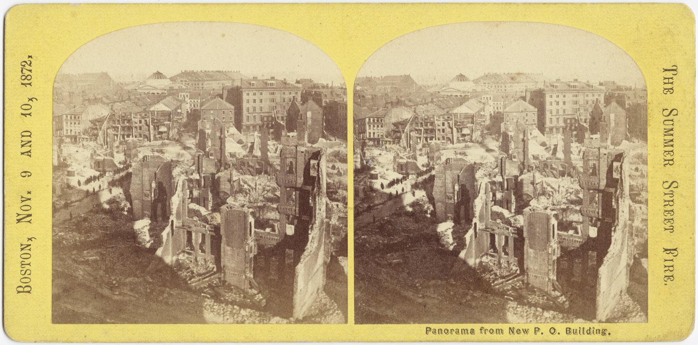 Великий пожар Бостона. 1872 год, США. Панорама от нового почтового отделения
