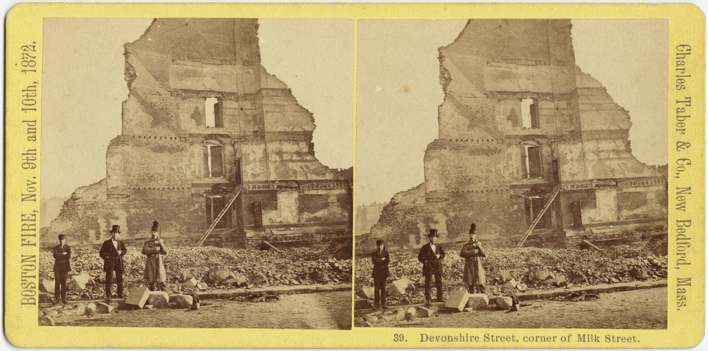 Великий пожар Бостона. 1872 год, США. Угол Девоншир Стрит и Милк Стрит