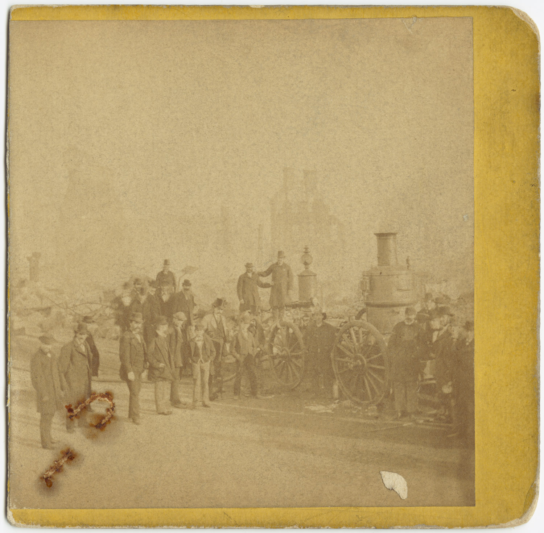 Великий пожар Бостона. 1872 год, США. Пожарный насос и команда