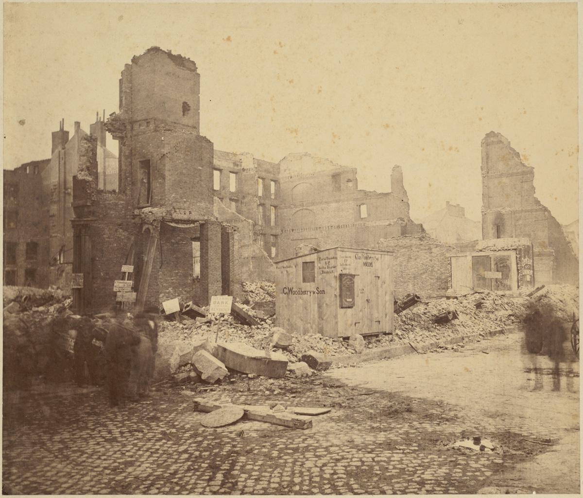Великий пожар Бостона. 1872 год, США. Угол Конгресс и Уотер Стрит