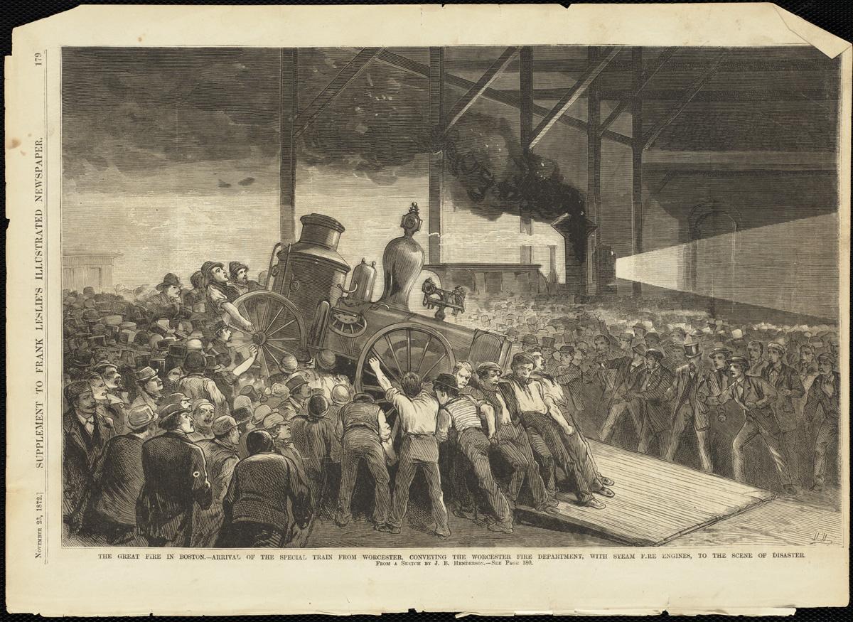 Великий пожар Бостона. 1872 год, США. Прибытие специального состава из Уорчестера с провыми пожарными насосами