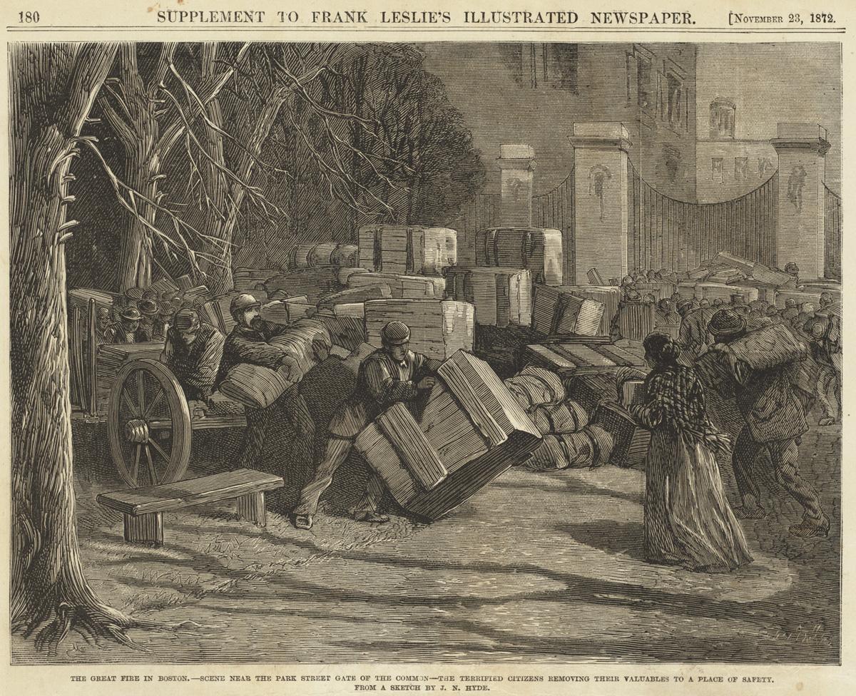 Великий пожар Бостона. 1872 год, США. Сцена около парка. Напуганные горожане эвакуируют ценности