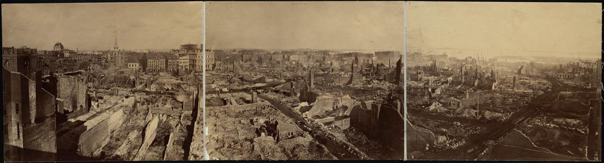 Великий пожар Бостона. 1872 год, США. Панорама сгоревших кварталов