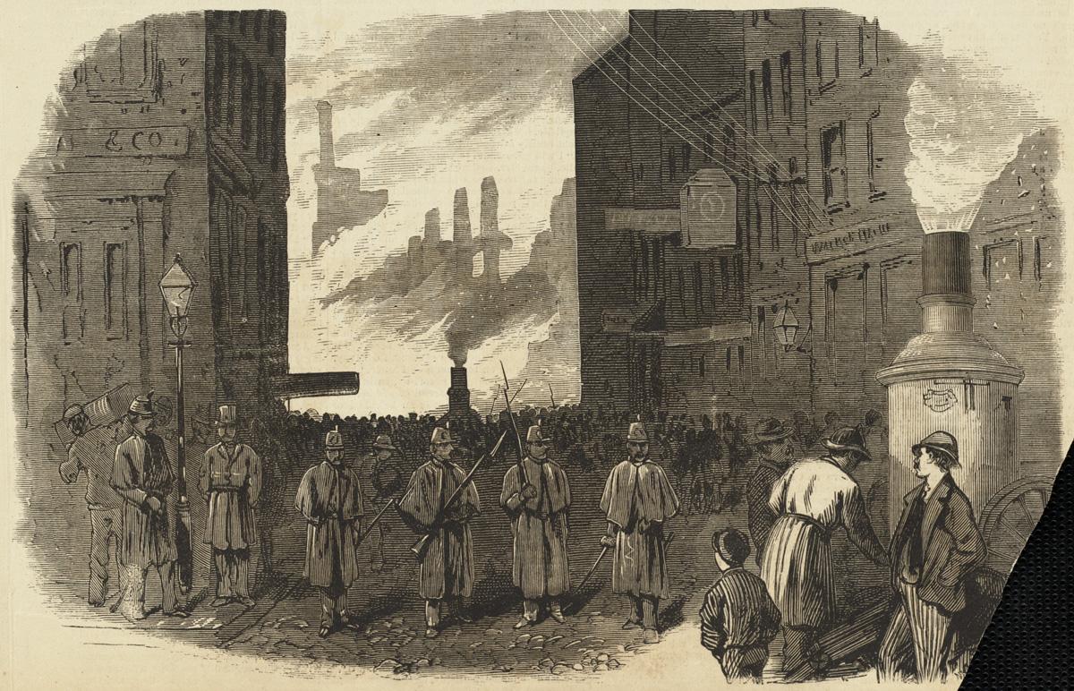 Великий пожар Бостона. 1872 год, США. Ночной патруль охраняет вход на Конгресс Стрит