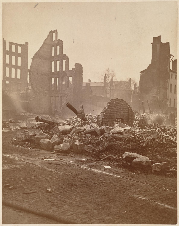 Великий пожар Бостона. 1872 год, США. Угол Кингстон и Саммер Стрит