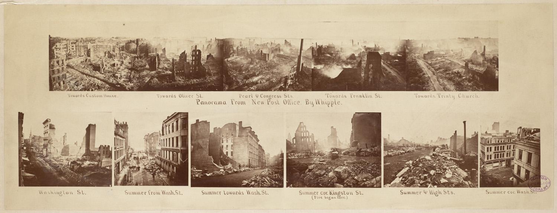 Великий пожар Бостона. 1872 год, США. Панорама от почтового отделения