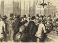 Великий пожар Бостона. 1872 год, США. Выдача пропусков в сгоревшие кварталы, штаб-квартира в городском управлении