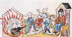 Княгиня Ольга сжигает в бане древлянских послов