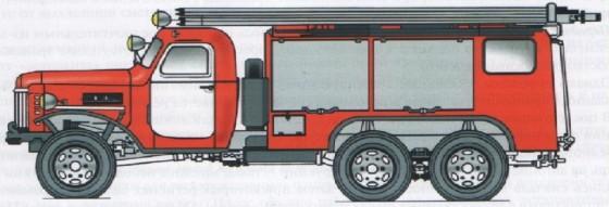 Компоновка автомобиля химпенного тушения на  шасси ЗИС151 (6х6) (середина 50-х годов)