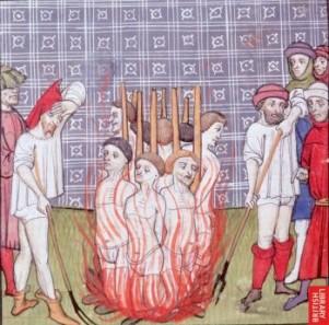 Сожжение преступников, средневековая миниатюра