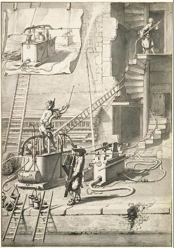 Тушение пожара машиной Ван Дер Хейдена, иллюстрация из книги