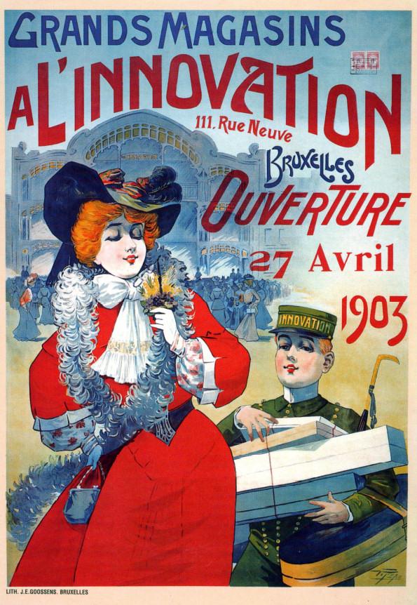"""Афиша универмага """"Инновасьон"""", Брюссель, Бельгия, 1903 год"""