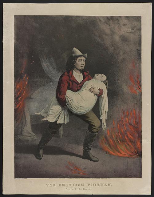 """Серия гравюр """"Американский пожарный"""" (The American Fireman). Быстрое спасение (Prompt To The Rescue).Луис Маурер, 1858 год"""