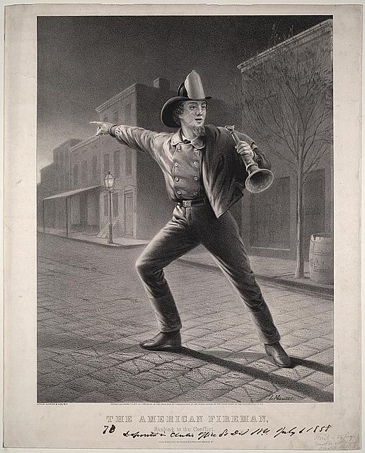"""Серия гравюр """"Американский пожарный"""" (The American Fireman). Спешка на пожар (Rushing to the Conflict).Луис Маурер, 1858 год"""