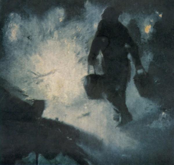 Пожарные с ведрами песка для тушения зажигательной бомбы. Англия, 1940 год