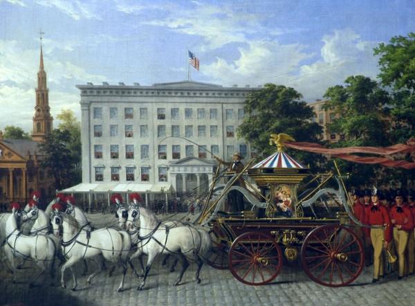Парад пожарных в Нью-Йорке, картина 1853 года, автор не установлен