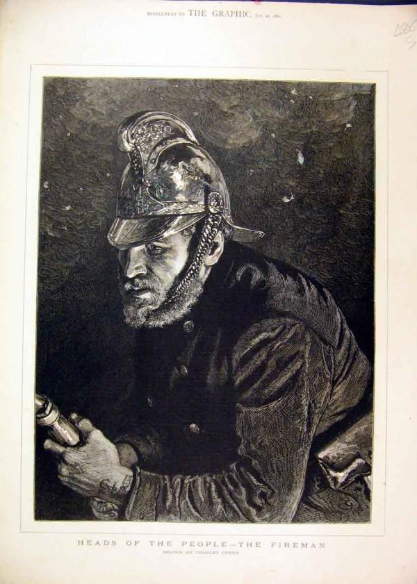 """Гравюра """"Пожарный"""" из серии """"Головы людей"""", Чарльз Грин, 1880 год"""