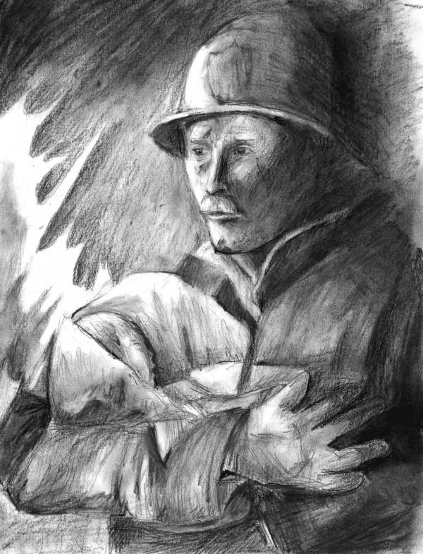 Рисунок пожарного с ребенком на руках. Обри Нендерсон (газета Эпок Таймс, США), 2005 год