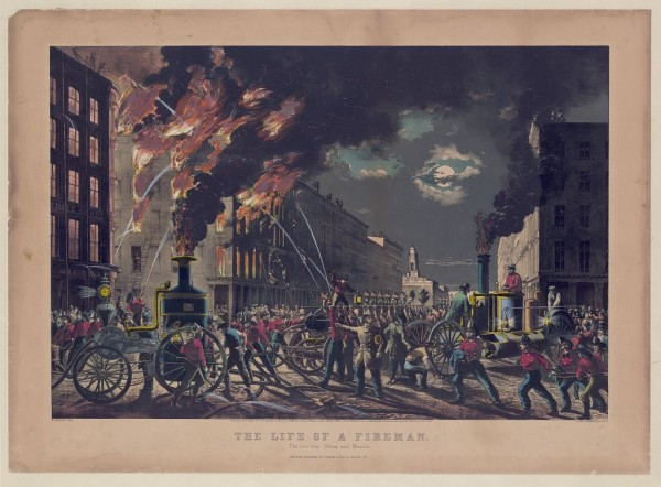 "Серия гравюр ""Жизнь пожарных"" (The Life of Firemen). Новая эра - пар и мускулы (The new era, steam and muscle ). Чарльз Парсонс, 1861 год"