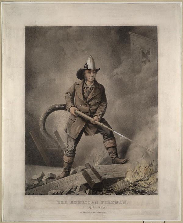 """Серия гравюр """"Американский пожарный"""" (The American Fireman). Лицом к врагу (Facing the enemy). Луис Маурер, 1858 год"""