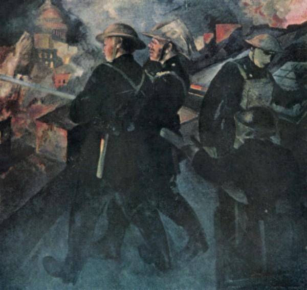 Марвин Райт. Пожарные. Картина на крышке стола для настольного тенниса. Англия, 1940 год