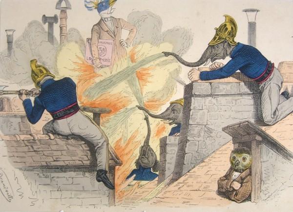 """Карикатура """"Животные, переодетые пожарными"""", Германия, 1947 год"""