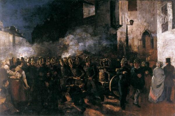 Густав Курбе. Пожарные бегут на пожар, 1850 год