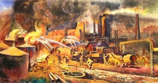 Петр Миронов. Тушение пожара на нефтеперегонном заводе в городе Грозном. 1975 год, СССР