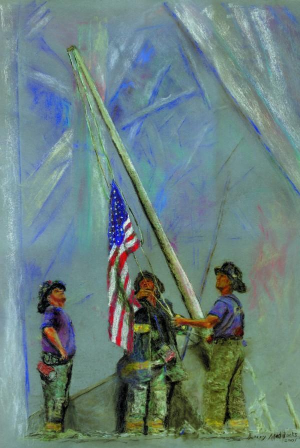 Ларри Мэддокс Пожарные поднимают флаг. США, 2001 год