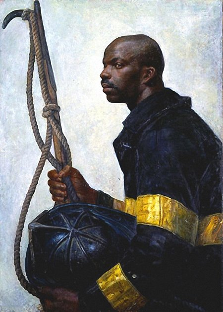 Стивен Ассаэль. Портрет пожрного с каской (США)