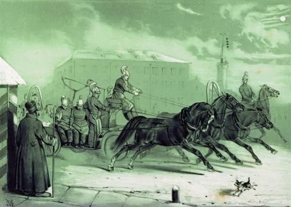 Пожарные в Санкт-Петербурге ночью. Сверчков Н.Е. 1845 год