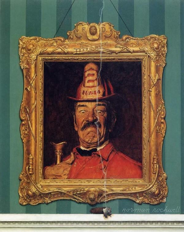 Норман Рокуэлл, Портрет пожарного и дымящейся сигары, США, 1944 год