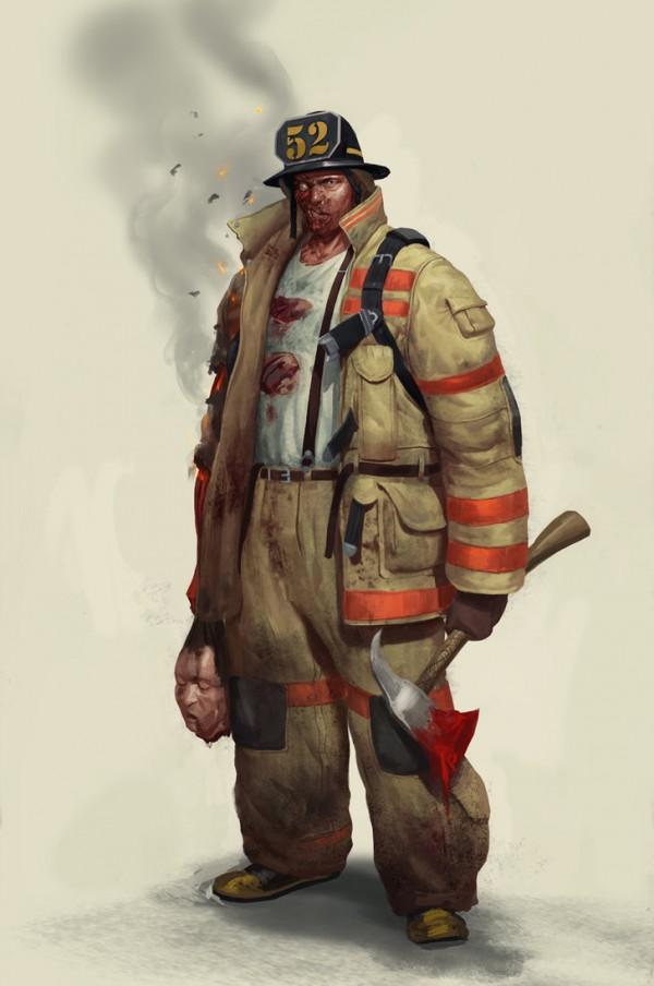 Пожарный в образе зомби. Фэн-арт пользователя mischeviouslittleelf (DevianArt)