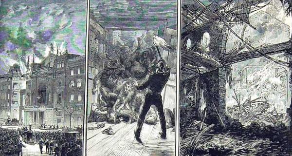 Сцены пожара в Ринг-театре в Вене: работа пожарных, забитые телами выходы, развалины театра