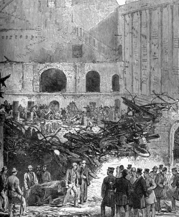Разбор завалов после пожара в Бруклинском театре, Нью-Йорк, США