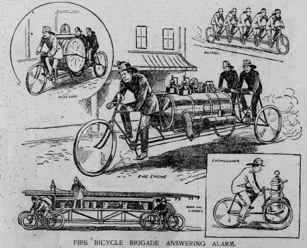 Велосипедная техника для применения в пожарных частях, США, 1896 год