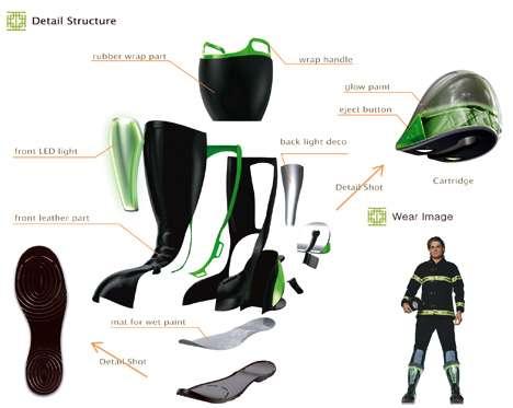 Ботинки для пожарных, оставляющие следы