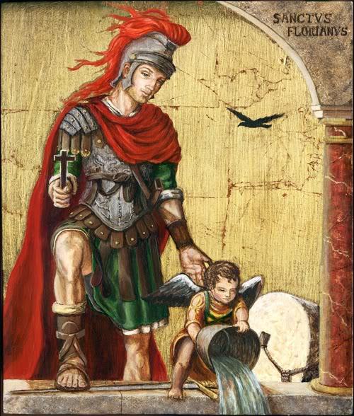 Фреска с изображением святого Фориана