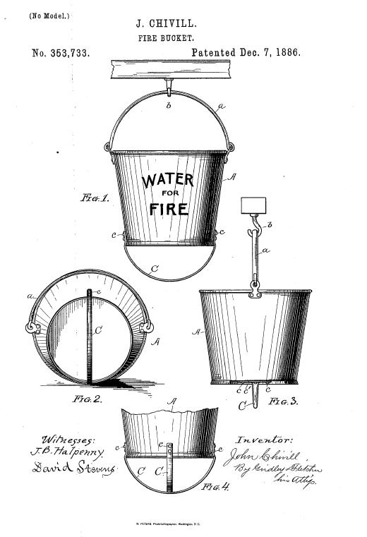 Пожарное ведро. Иллюстрация из патента, США