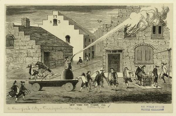 Заполнение пожарного насоса ведрами и тушение пожара. Нью-Йорк, 18 век