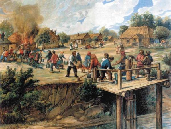 Пожар в деревне. Гравюра ХIХ века