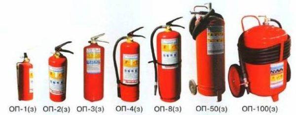 Классификация огнетушителей по назначению