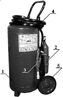 Устройство огнетушителя передвижного