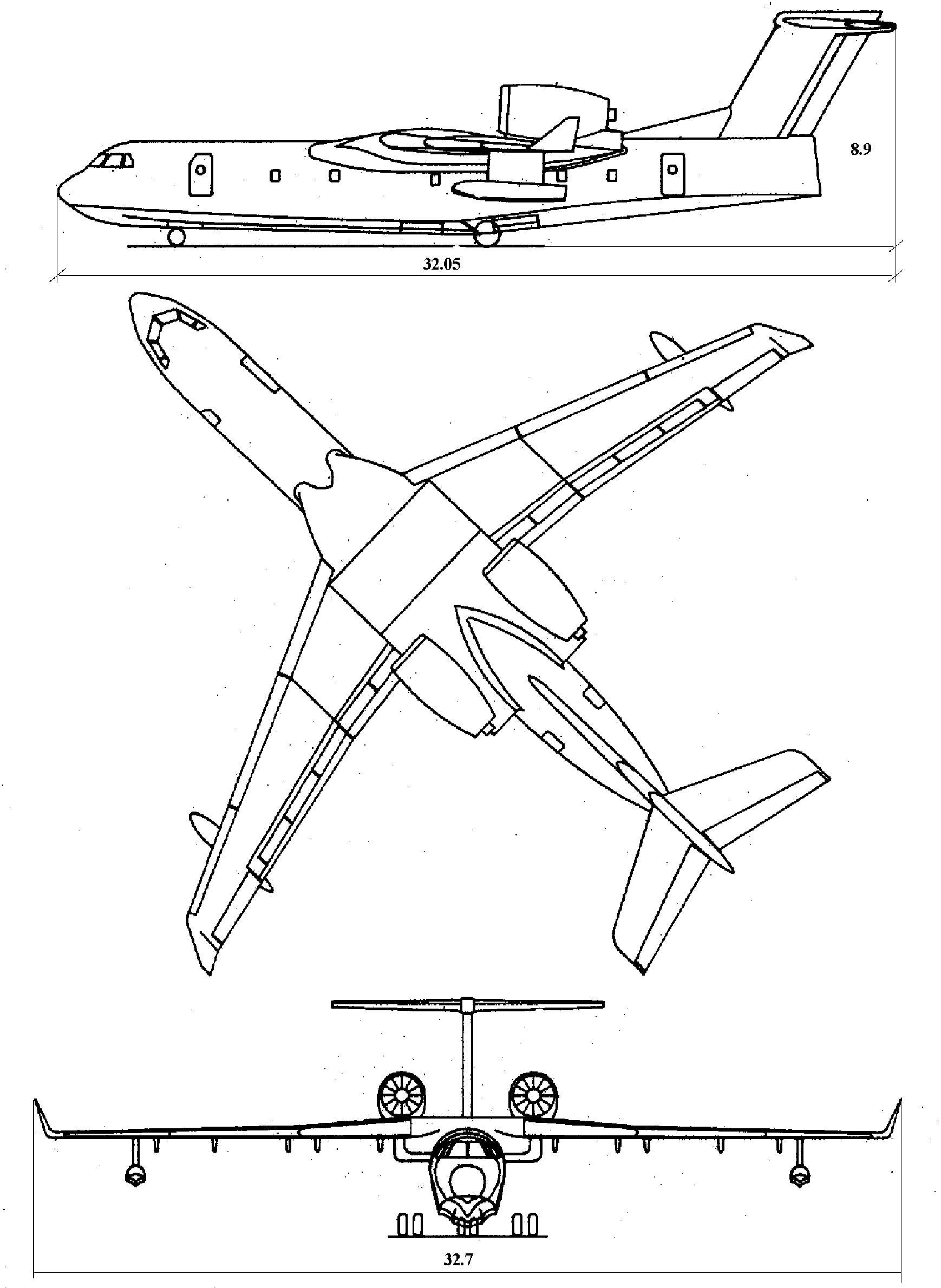 Самолет-амфибия БЕ-200. Чертеж